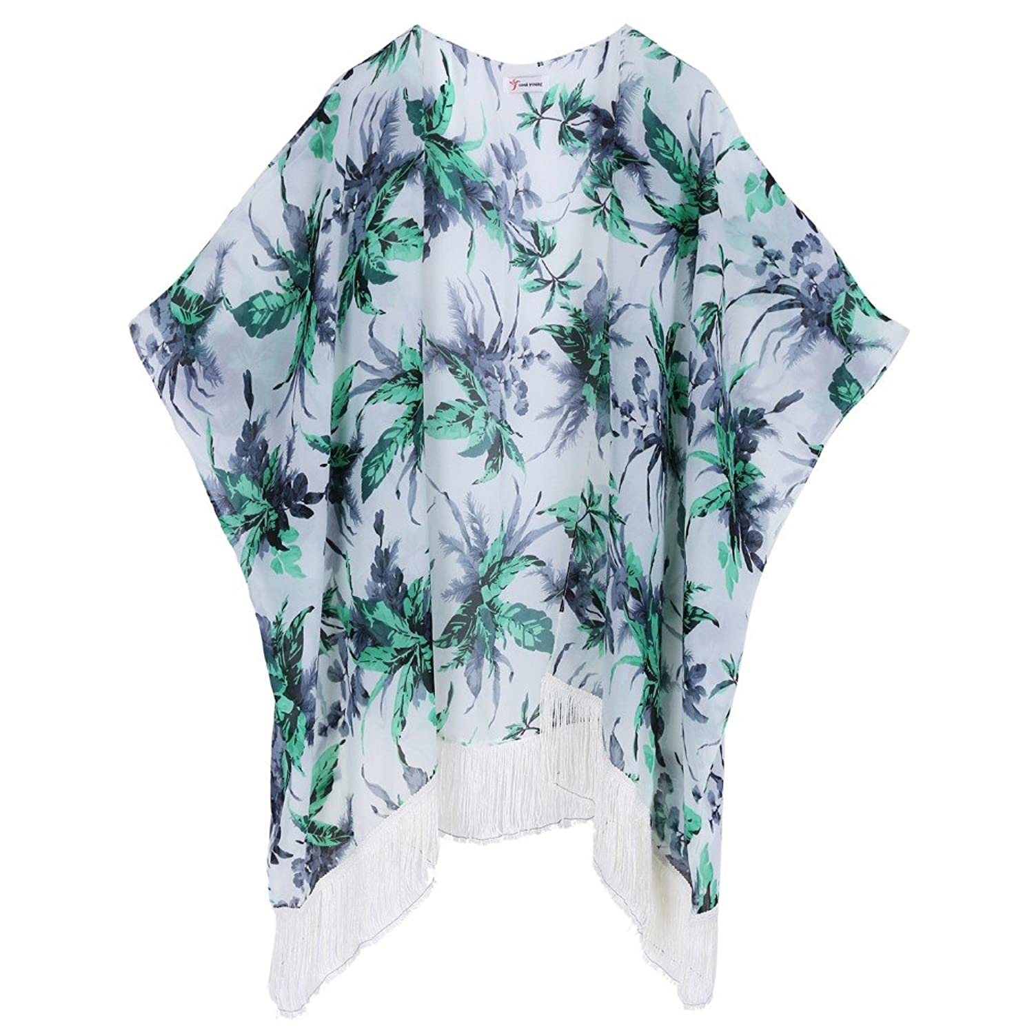Soul Young Damen Sommer floral bedruckte Chiffon Kimono Cardigan Schal Tops