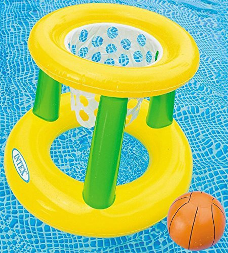Intex - Floating Hoops 3, Incl Inflatable Pool Hoop & Basketball, Repair Patch