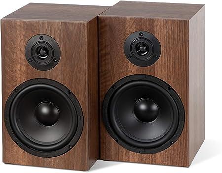 McGrey BSS-265 BR - Altavoces de estantería Hi-Fi (1 par, 40 W (RMS), sistema de 2 vías, también para montaje en pared, color marrón