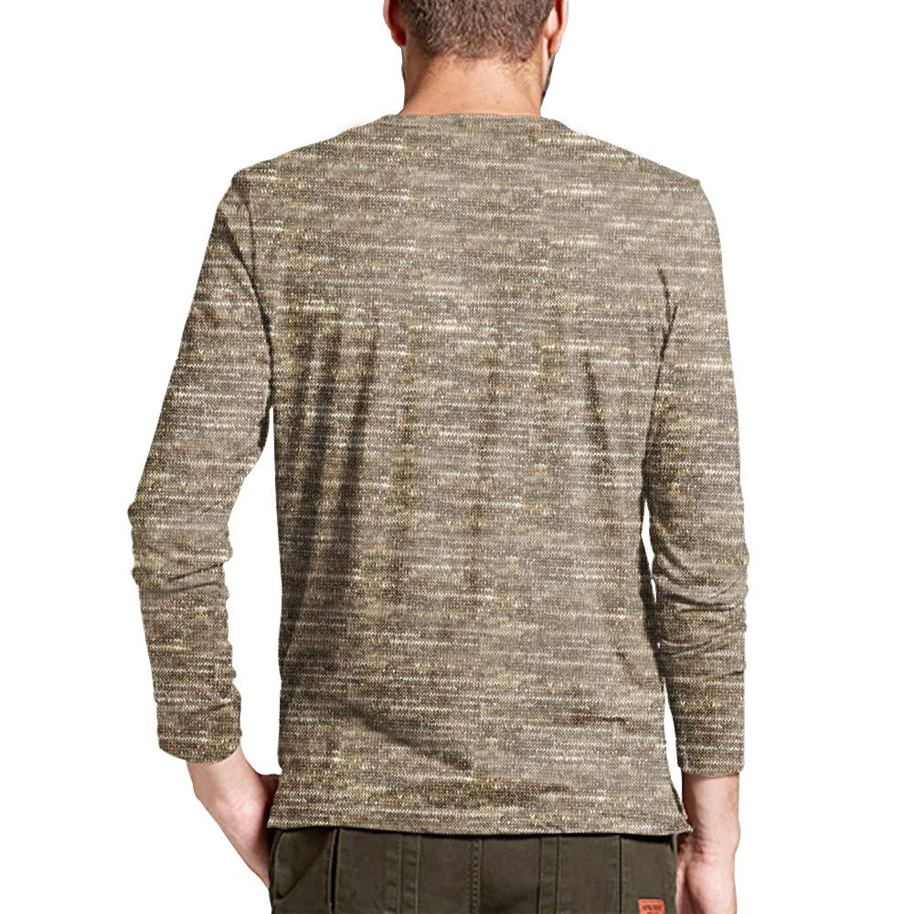JXClothing Mens T Shirts Cotton Long Sleeves Slim Fit V Neck Button Tops Tees