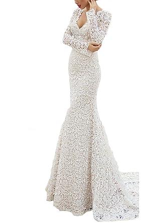 1f9dc0d7e Z Elegant V Neck Lace Wedding Dresses for Bride Long Mermaid Vestidos de  Novia
