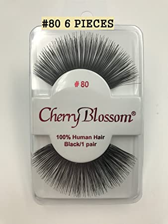 a4efb6a0427 Amazon.com : Cherry Blossom Fake Eyelashes Style #80 100% HUMAN HAIR (6  PIECES) : Beauty
