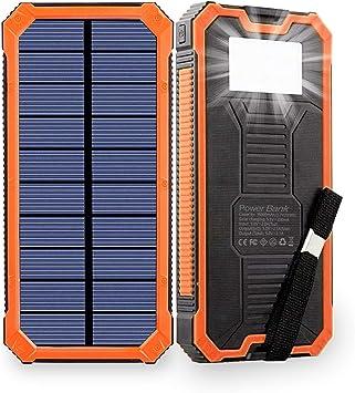 Friengood Cargador solar, 15000 mAh portátil Solar Power Bank con dos puertos USB, batería externa solar cargador de teléfono con 6 luces LED linterna ...