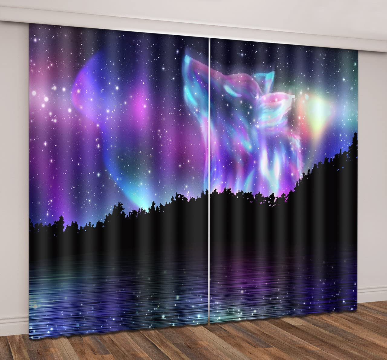 LB Teen Kids Wolf Decor Room Darkening Blackout Curtains,Wolf Pattern in The Starry Sky 3D Window Curtains Drapes for Living Room Bedroom 2 Panels Set,42 x 63 Inches