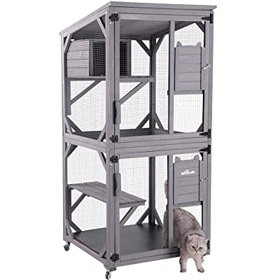 Buy Aivituvin Outdoor Cat House Indoor Cat Cages Enclosures On Wheels Large Kitten Playpen 70 9 Upgraded With Resting Box Waterproof Roof Online In Thailand B07vrzn9ys