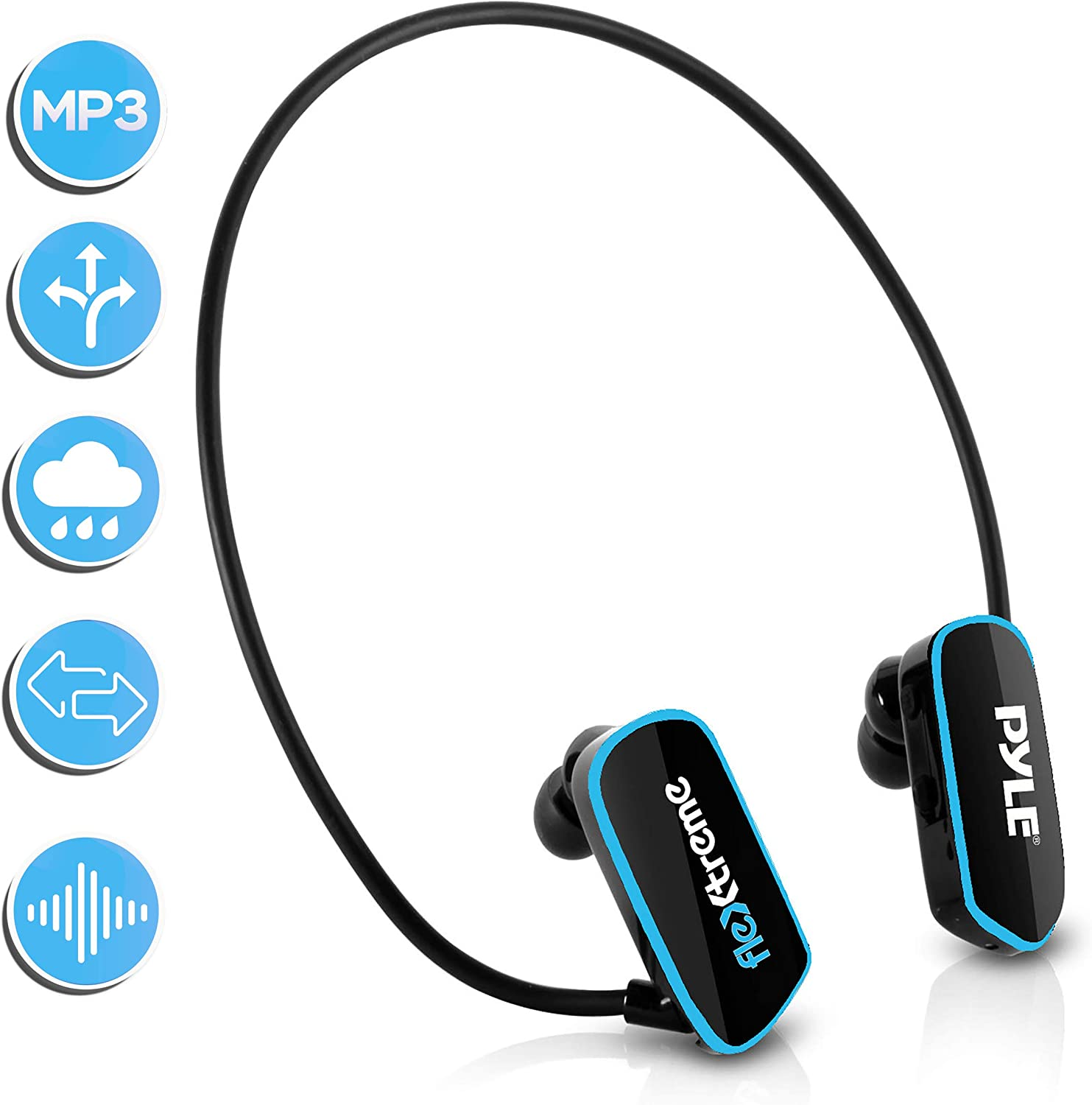 Waterproof MP3 Player Swim HeadphoneSubmersible IPX8 Flexible WrapAround Style Headphones Builtin Rechargeable Battery USB Connection w/ 4GB Flash Memory & Replacement EarbudsPyle PSWP6BK