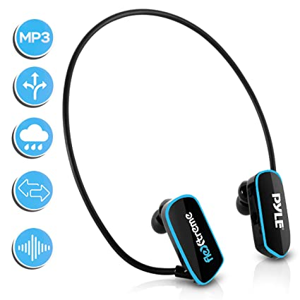 Waterproof MP3 Player Swim Headphone - Submersible IPX8 Flexible  Wrap-Around Style Headphones Built-in Rechargeable Battery USB Connection  w/ 4GB