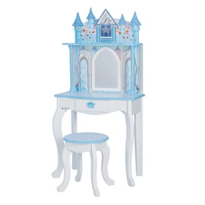 Teamson Kids Pretend Play Kids Vanity Table and Chair Vanity Set with Mirror Makeup Dressing Table with Drawer Castle Play Set with Accessories for Girls Dreamland Castle Play White Ice Blue Purple: Kitchen & Dining