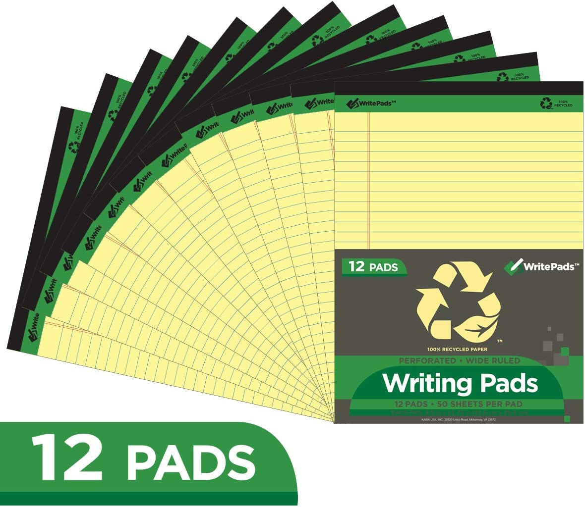 "KAISA Legal Pads/Writing Pads Recycled Paper 8.5""x11.75"" Wide Ruled Perforated 50 sheets Writed Pad, Canary (Pack of 12pc) KSU-5668"