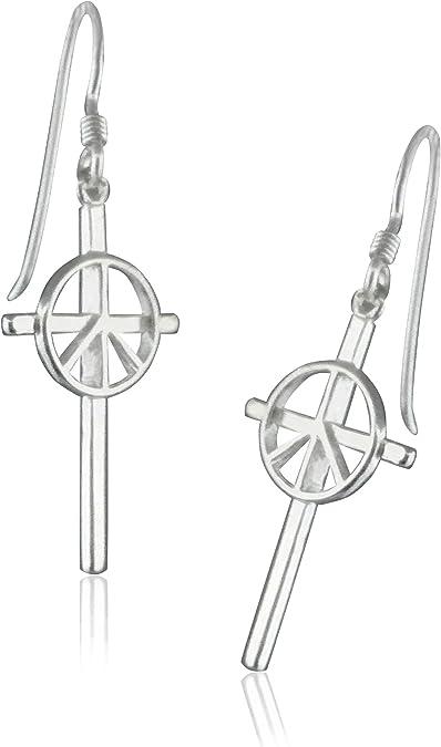 Gunmetal Earrings Retro Jewelry Boho Style Peace Sign Earrings Hippie Style Peace Sign Dangles Southwestern Jewelry