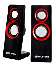 Combusters USB Design Lautsprecher Box Boxen Pc Tower Computer Laptop Notebook schwarz rot Speaker System 2.0 extern