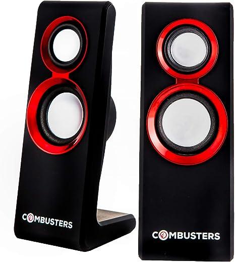 COMBU sters USB Diseño Caja de Altavoces Cajas PC Ordenador Portátil Negro Rojo: Amazon.es: Informática