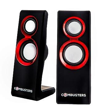 COMBU sters USB Diseño Caja de altavoces cajas PC Ordenador Portátil Negro Rojo
