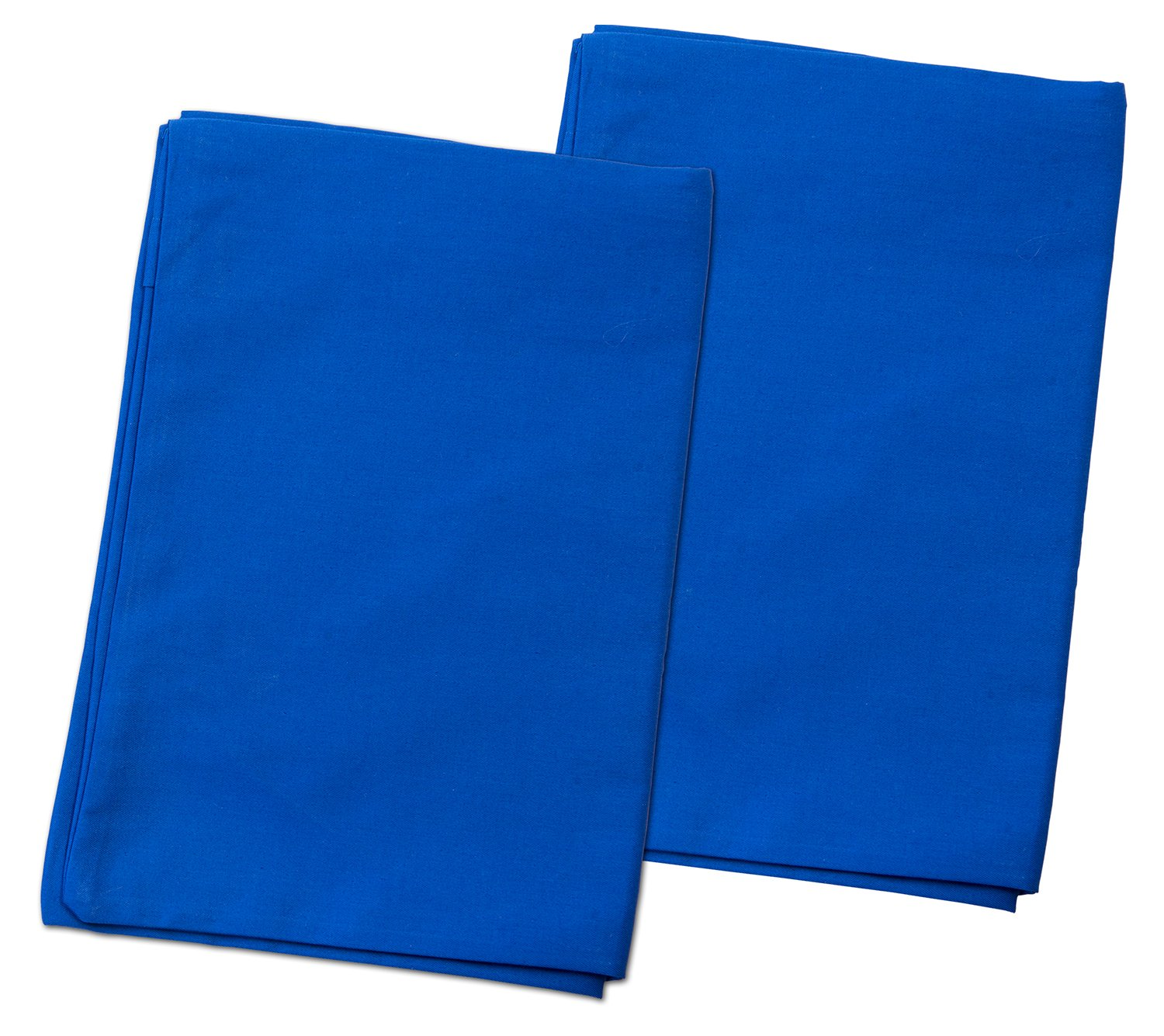 2 Dark Blue Toddler Pillowcases - Envelope Style - For Pillows Sized 13x18 and 14x19 - 100% Cotton With Sateen Weave - Machine Washable - 2 Pack