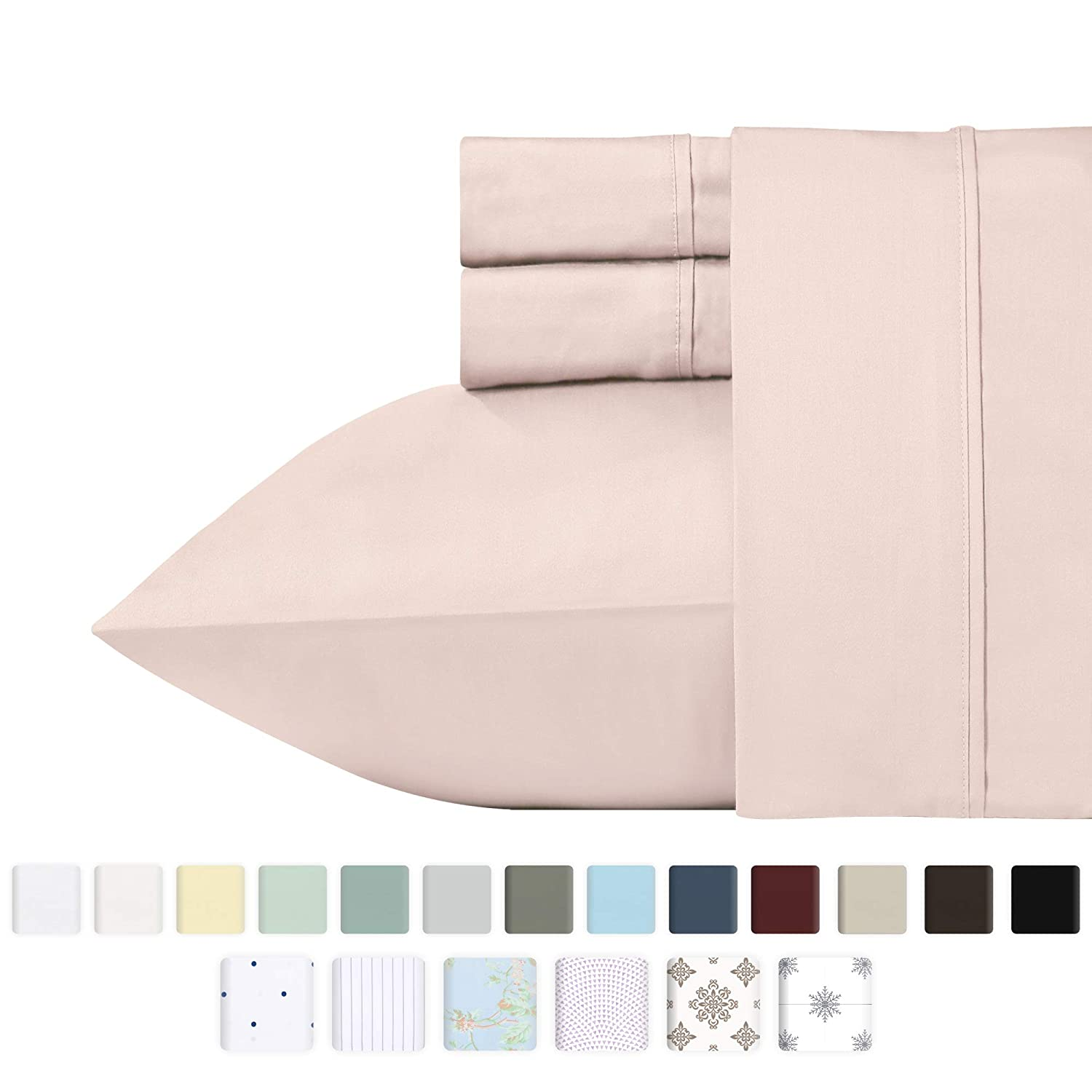 Best Luxury 400-Thread-Count 100% Cotton Sheet Set, Blush Queen Sheets, 4-Piece Long-staple Combed Pure Cotton Bedsheet For Bed, Soft & Silky Sateen Sheets Fits Mattress Upto 18'' Deep Pocket