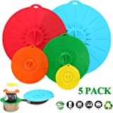 """Adpartner Silicone Microwave Cover, 5-Pack Various Sizes Heat Resistant Silicone Suction Lids for Bowls Pots Pans Mugs, BPA-Free Leak-proof Cooking Container Covers - Diameter 4"""" 6"""" 8"""" 10"""" 12"""""""