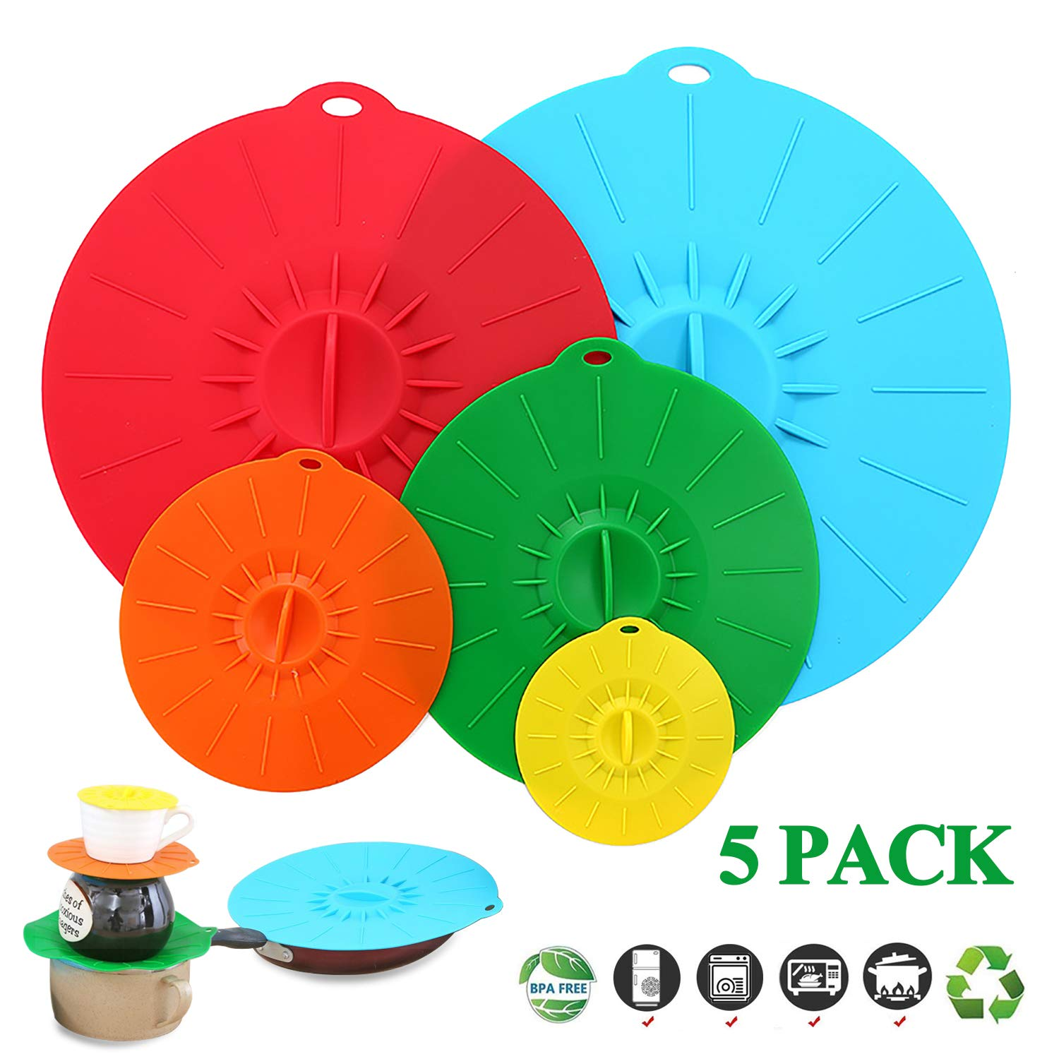 "Adpartner Silicone Suction Lids, Set of 5 Colorful Food Covers for Bowls Pots Pans Mugs - BPA-Free Leak-proof Containers Cover, Microwave and Dishwasher Safe - Diameter 4"" 6"" 8"" 10"" 12"""