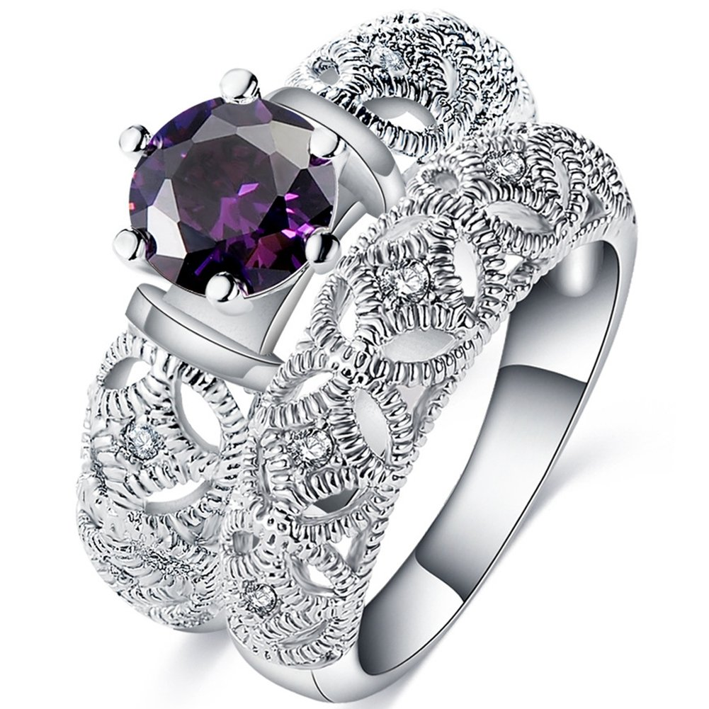 FENDINA Womens White Gold Plated Vintage Filigree Wedding Engagement Bands Ring Set Created Amethyst Promise Rings for Her (8)