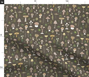 Spoonflower Fabric - Mushroom Pattern Mushrooms Nature Cute Food Summer Autumn Printed on Petal Signature Cotton Fabric by The Yard - Sewing Quilting Apparel Crafts Decor