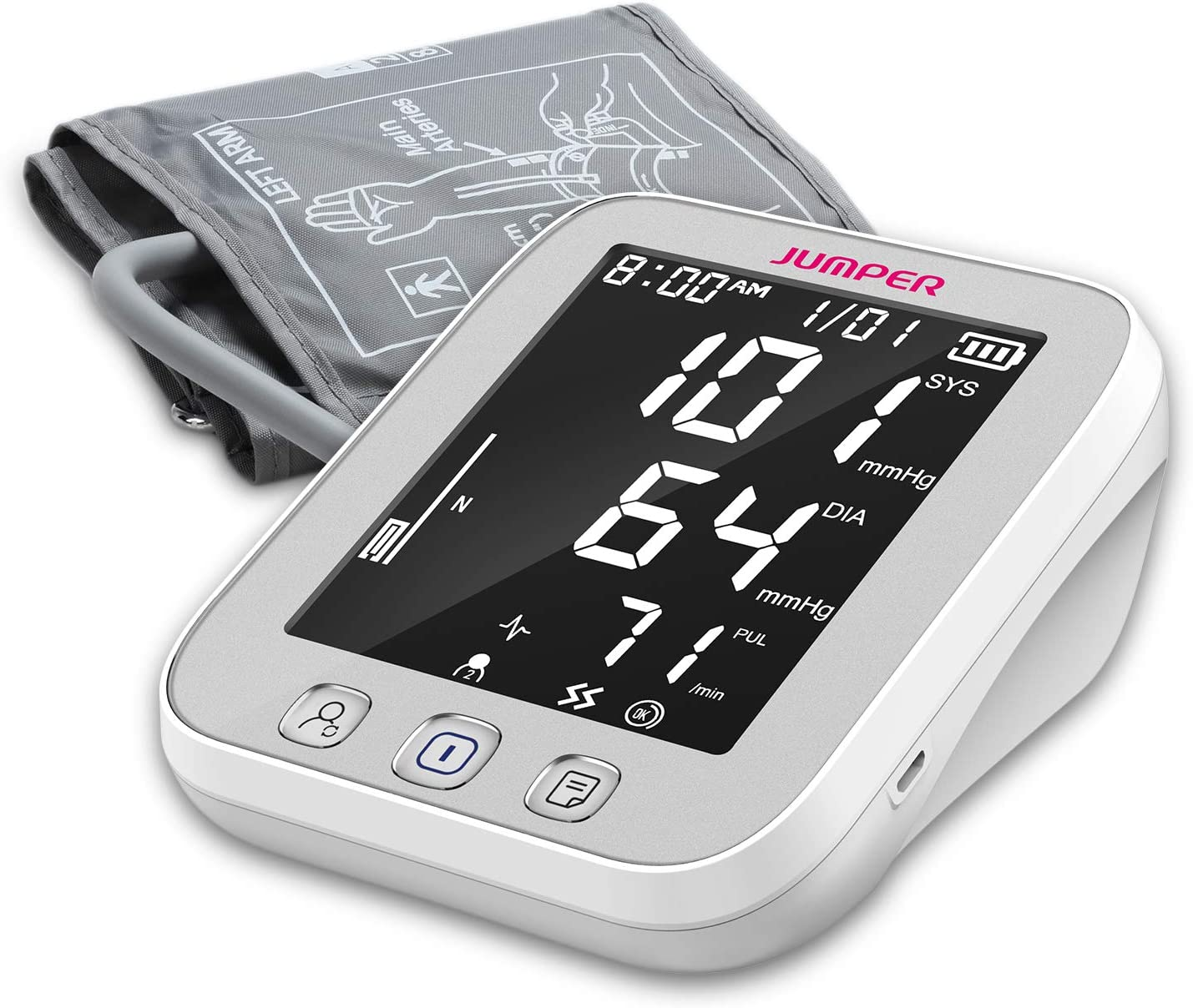 Blood Pressure Monitor Upper Arm Large Cuff – Fully Automatic Blood Pressure Machine with LED Backlight – BP Monitors Kit – 2 Users, 99 Memory