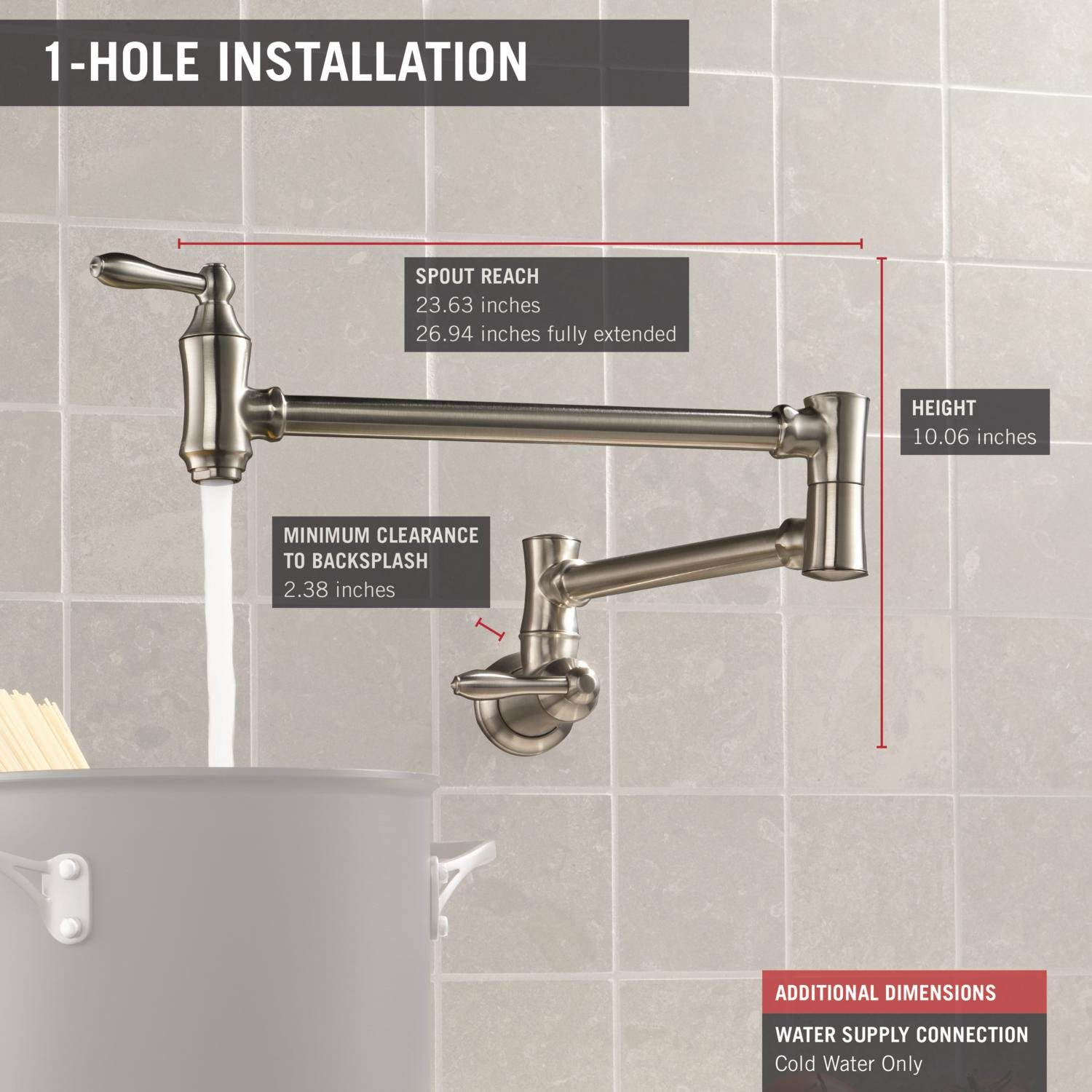Delta Faucet Traditional Wall-Mount Pot Filler Faucet, Stainless 1177LF-SS by DELTA FAUCET (Image #3)