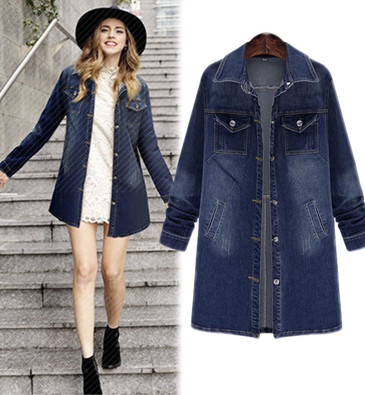 Innifer Women Casual Long Sleeve Mid Long Loose Denim Jackets Loose Jean Coats
