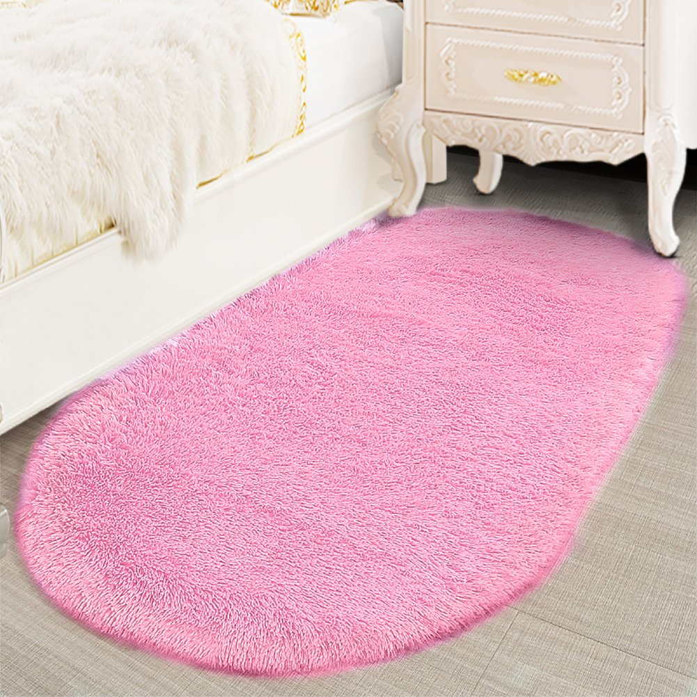 Lee D.Martin Ultra Soft Children Rugs Living Room Bedroom Oval Carpets Modern Shaggy Area Rugs Anti-Slip Backed Home Décor Rug,2.6' X 5.3',Pink