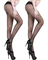Crotchless Pantyhose for Sexy(2 Pairs)- Sheer 8D Gloss Effect Open Crotch Free Tights