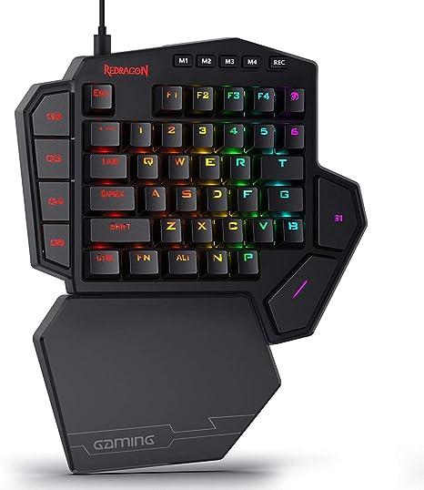 Redragon K585 DITI Teclado mecánico de una Mano gaming RGB, interruptores Marrones, Teclado ergonómico pequeño para Juegos, USB Tipo C con Teclas ...