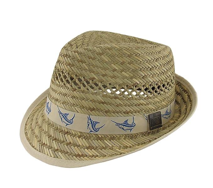 dd817049820 Amazon.com  Guy Harvey 50s Style Straw Fedora Hat w Khaki Marlin ...