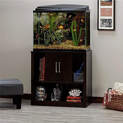 Espresso Aquarium Stand For Fishbowls And Aquariums 29 37 Gallons, Black Modern  Aquarium Stand