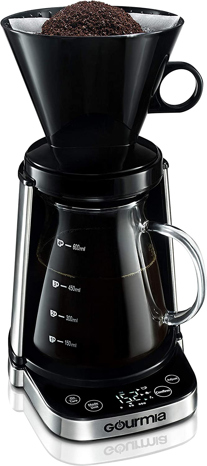 Image of a coffee maker with a dripper containing coffee grounds above it