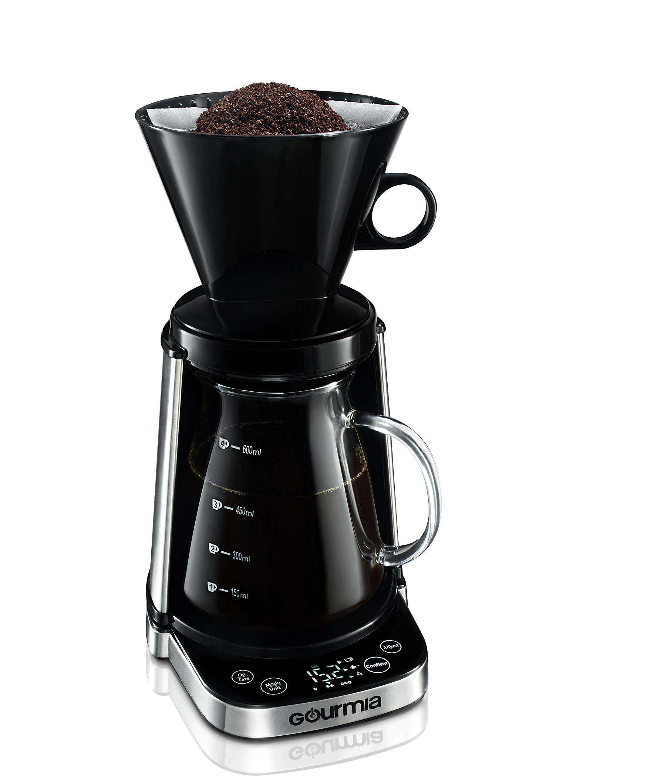 Gourmia GCM3250 Digital Touch Pour-Over Coffee Maker - Automatic and Manual Mode - Integrated Scale - Battery-Powered - 20-Ounce Capacity