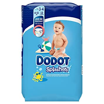 Dodot Splashers Pañales Bañadores Desechables - Paquete de 12 pañales, Talla 3: Amazon.es: Bebé
