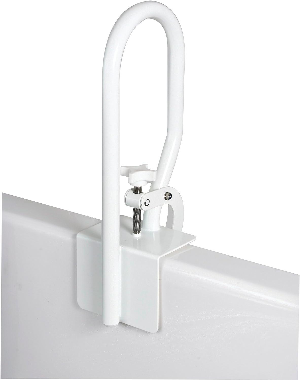Carex White Bathtub Rail - Grab Bars for Bathroom, Bathtubs & Showers - Side Hand Grip Railing & Support - Shower Handle & Bath Tub Bar Clamps for Seniors & Elderly: Health & Personal Care