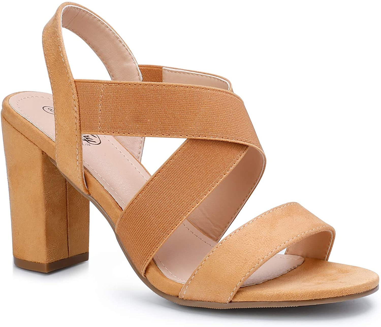 Trary Women's Elastic Strap Chunky Heel Block Dress Sandals