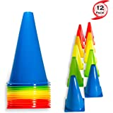 "Urakn Sports 2"" 9"" 12"" Inch Plastic Multicolored Cones 6 12 50 Pack Set - Perfect for Soccer, Football, Basketball Coaching, Agility Drill Training Field Marker. Traffic Cones"