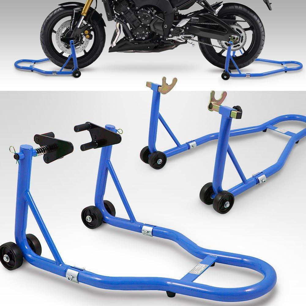 Bituxx Motorradständer Hinten Vorn Motorrad Montageständer Transportständer Blau Belastbar Bis 250 Kg Pro Ständer Auto