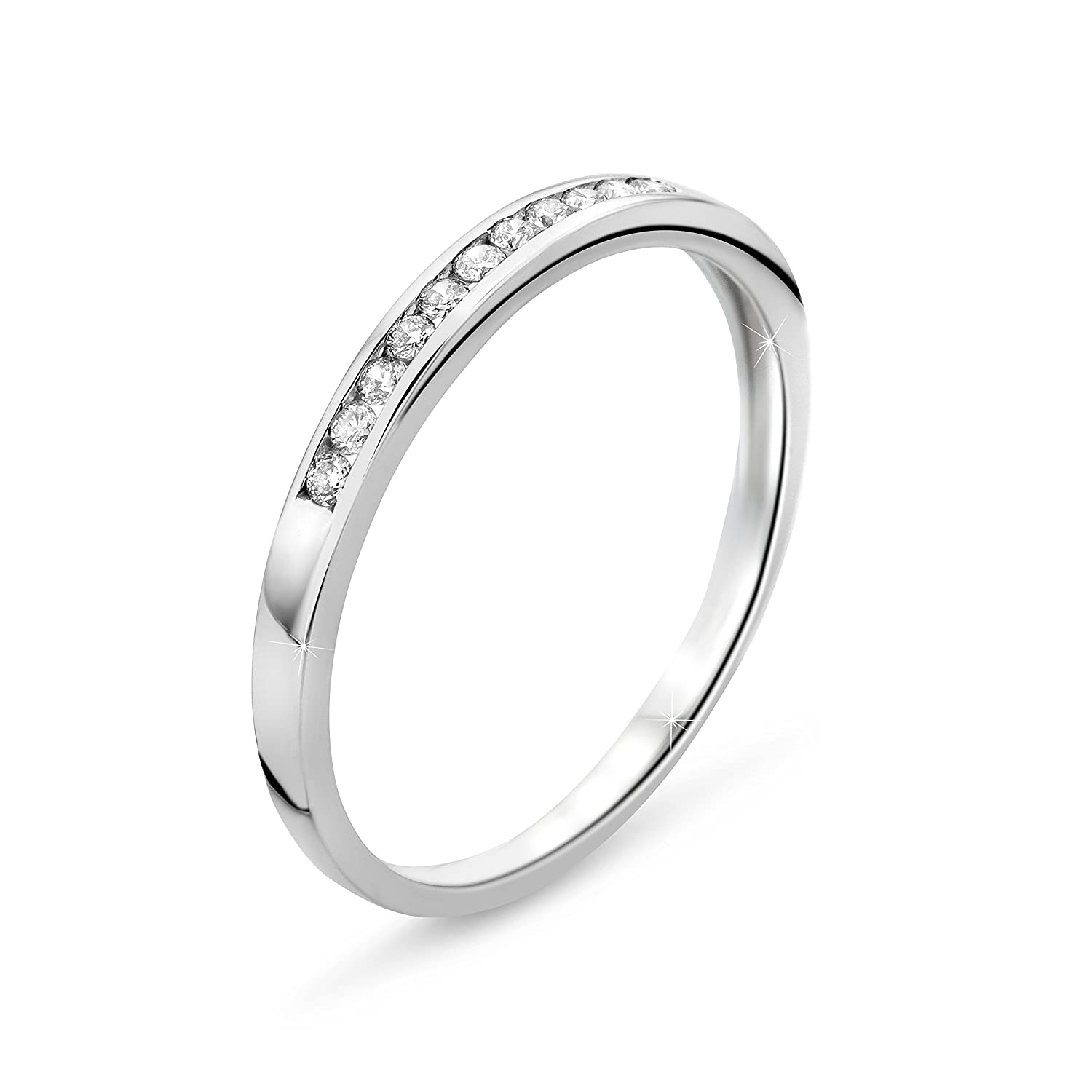Orovi Woman Eternity Ring 9 ct / 375 White Gold With Diamonds Brilliant Cut 0.10 ct 05ZXH