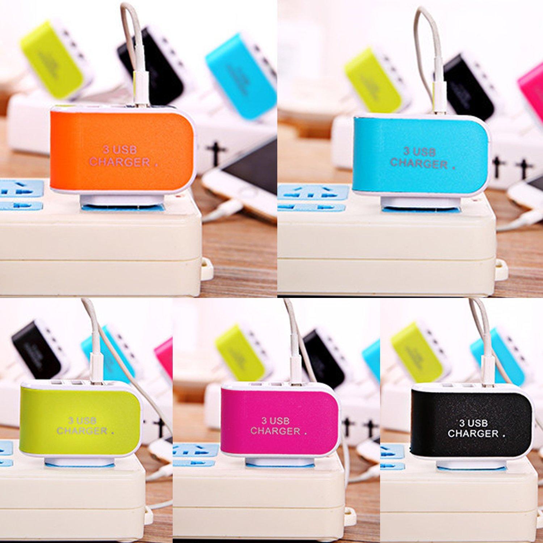 Hiriyt Nouvel Adaptateur de Chargeur Secteur pour Voyage à Domicile à 3 Ports USB pour Prise de téléphone EU/US Chargeurs Secteur (Orange)
