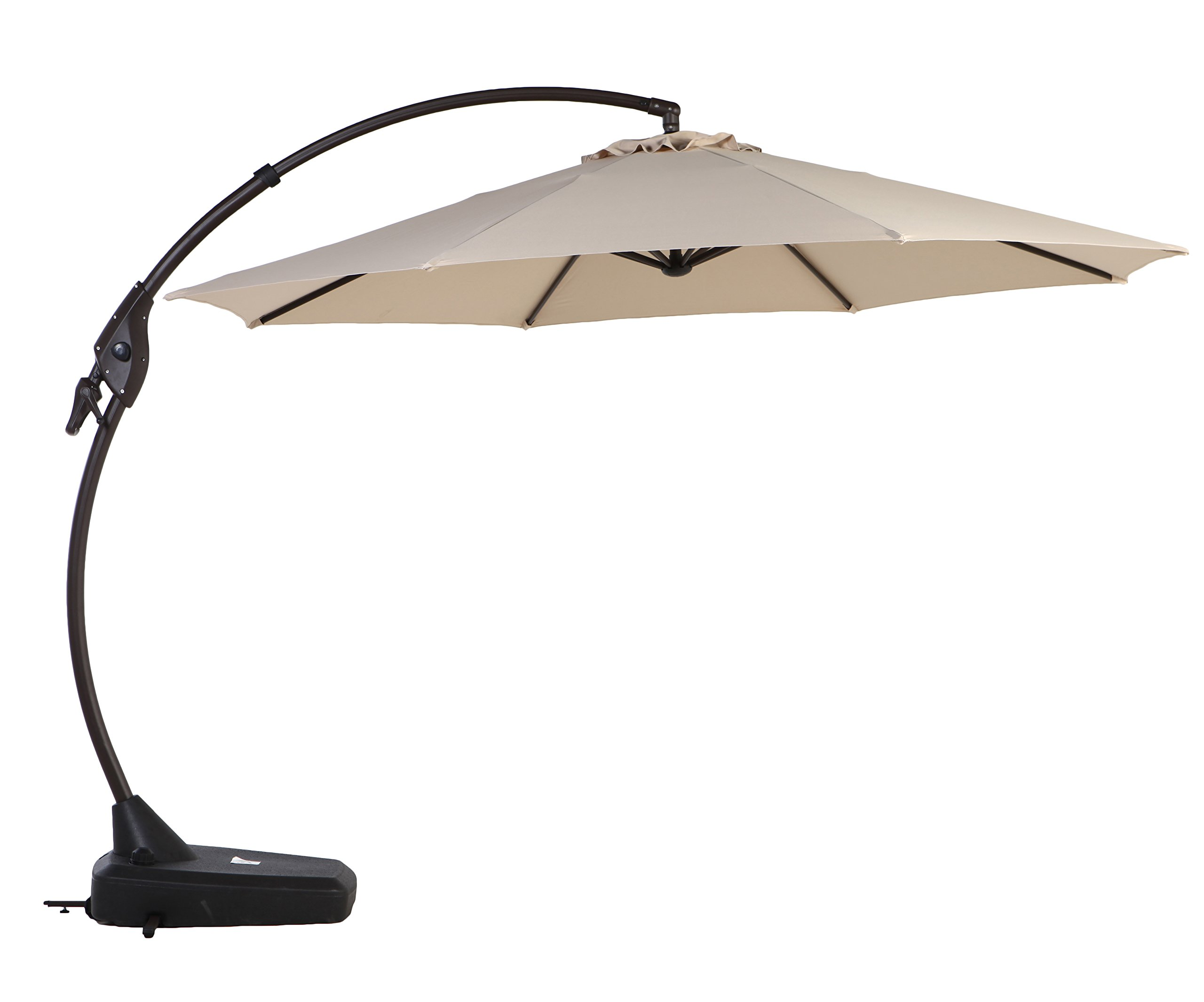 Grand Patio Deluxe 11.5 FT Curvy Aluminum Offset Umbrella with Handle and Crank, Banana Style Cantilever Umbrella, 8 Ribs Large Patio Umbrella with Base, Beige
