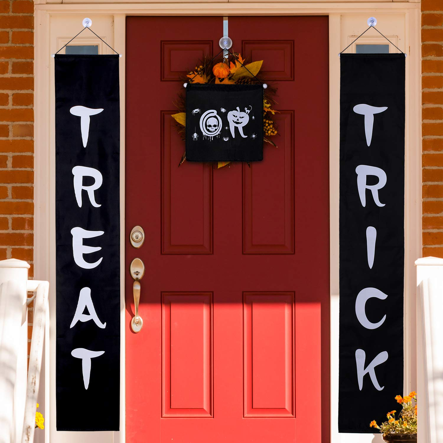 Jetec 3 Set Trick or Treat Halloween Banner Garland Home Door Sign with 4 Pack Suction Cup Wall Hooks Hangers for Home Office Outdoor Halloween Decor