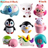 WATINC Random 3 Pcs Jumbo Animal squishy Sweet Scented Vent Charms Slow Rising squishies Kawaii Kid Toy Pillow Toy, Lovely Stress Relief Toy, Animals Gift Fun Large