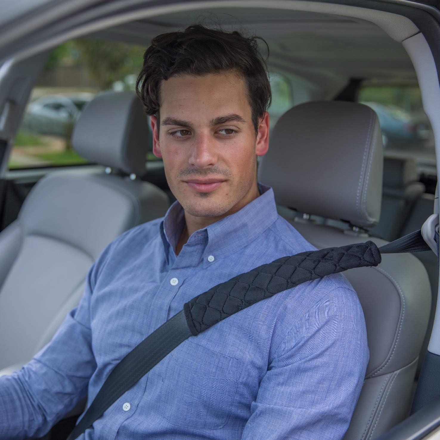 SUV Premiun Quality 2Pcs Car Seat Belt Cover Soft Cintur/ón de seguridad Pads Purple Beige Black para Adultos Mujeres Ni/ños Cami/ón C/ómoda Tela Auto Durable y Pads Ajustables Purple