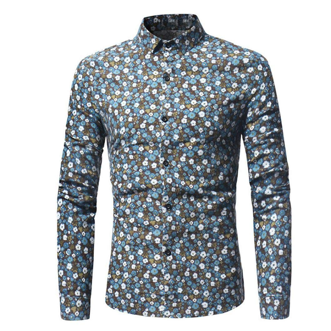 BHYDRY Fashion Man Retro Floral Printed Blouse Casual Long Sleeve Slim Shirts Lapel Tops