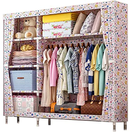 Amazon.com: HKKYT Double Closet Simple Fashion Cloth Wardrobe ... on simple home decorations, simple home interiors, simple home plants, simple home landscaping, simple home stereo systems, simple beds, simple rugs, simple art, simple home games, simple home food, simple design, simple home bathroom, simple home theater system, simple home theater decor, simple home security, simple home appliances, simple lighting, simple tv stands, simple houses, simple garden,