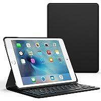 美国MoKo 苹果 iPad Pro 9.7 / iPad Air 2 蓝牙键盘 苹果iPad无线蓝牙键盘保护套 蓝牙3.0无线距离10米 可分离式 智能休眠键盘皮套 适用于iPad Air 2 / iPad Pro 9.7英寸平板电脑蓝牙键盘电压套 黑色
