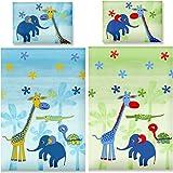 Aminata Kids – bunte Bettwäsche 100x135 cm Kinder Jungen Mädchen Tiere Baumwolle Reißverschluss Blau Gelb Zootiere Elefant Giraffe Schildkröte Kinderbettwäsche Babybettwäsche Bettbezug Kinderbettgröße