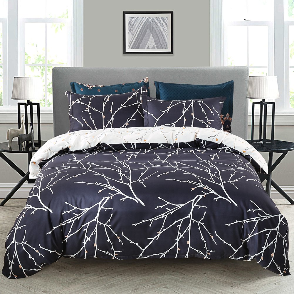 Duvet Cover Set Navy Blue Tree Bedding Tree Branches Printed Blue/Beige Reversible Design Bedding QUEEN