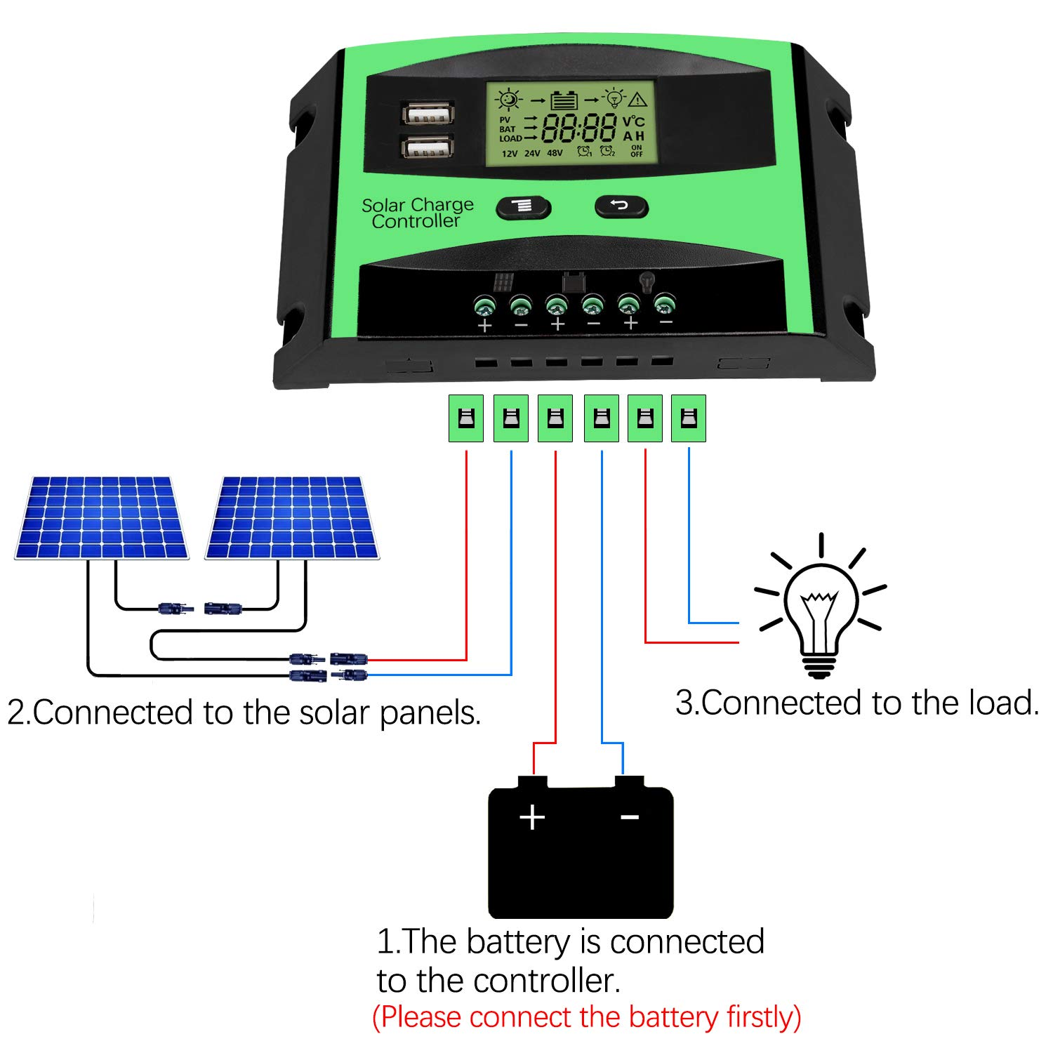 Upgrated 30a Solar Charge Controller Baoboace 12v Wiring Diagram Panel Battery Intelligent Regulator With 2 Usb Port Extra Pair Mc4 Connectors